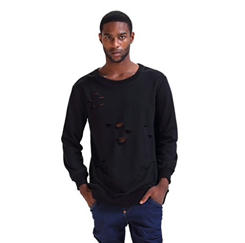 Pizoff Unisex Hip Hop Basic Langärmliges Langes Jersey Sweat T-Shirt Rund Saum P3265-black