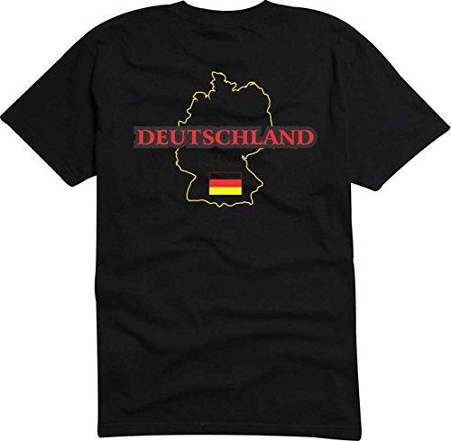 T-Shirt t122 Ländershirt Deutschland mit Landkarte schwarz XXL - Brustaufdruck - Germany -