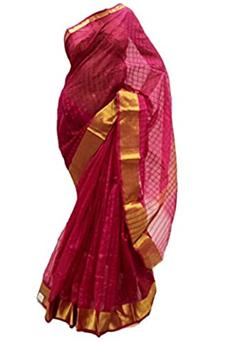 PCS3251 Magenta und Gold-Poly Cotton Saree Indian Sari Curtain Drape Fabric Unstitched Blouse Piece