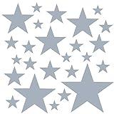PREMYO Set de 25 Stickers Muraux Enfants Étoiles - Autocollants Décoration Murale Chambre Bébé - Facile à Poser Gris