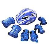 TONGJI Kinder Sport Schutzausrüstung Kinder Helm Set Protektoren Set 7pcs Helm Armschienen Ellenbogenschutz Knieschoner Für Rollschuhlaufen Skateboarding Radfahren Skifahren 5-11 Jahre-Dunkelblau