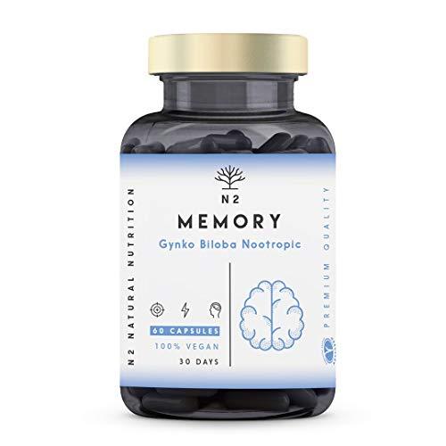 Nootropico Memoria Naturale. Caffeine, Bacopa, Gingo Biloba e Vitamine. Integratore Nootropico Concentrazione.Migliora l\'umore e Memoria. Riduce Fatica e Stress Vegano 60 capsule N2 Natural Nutrition