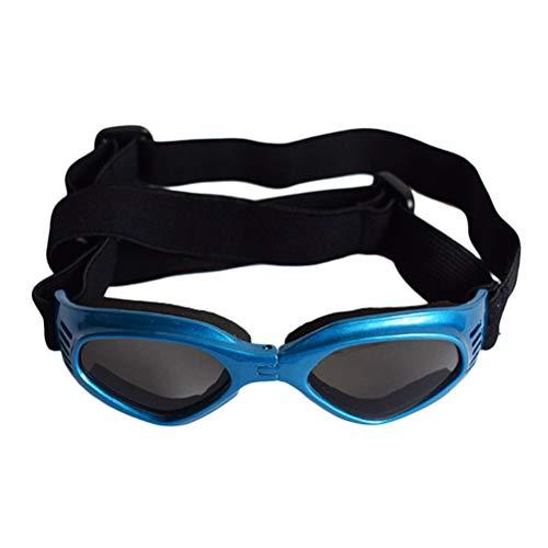 POPETPOP Modische Hund Sonnenbrille, Verstellbare, Faltbare Wasserdichte Brille, Schutzbrille für Katzen und Hunde (Blau)
