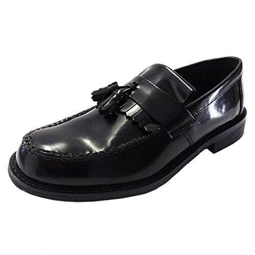 Roamers Herren Knebelknopf Sattel Halbschuhe Echtleder Troddel Lässig Elegant MOD Schuhe Black Hi-Shine Leather