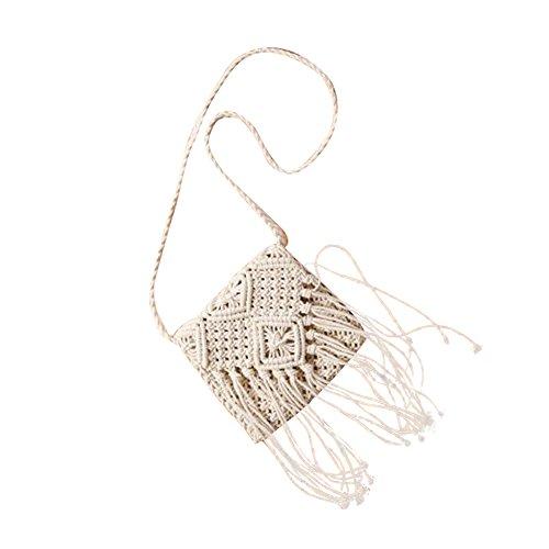 69d095f83a6ff Sommer Crossbody Umhängetasche Strick Schultertasche Taschen Strandtaschen  gewebte mixinni® Weiß Retro 8CwgR0qCA