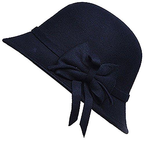 Belsen Damen wollen Bogen Temperament Schlapphut Mütze Fischer Hut (schwarz) -