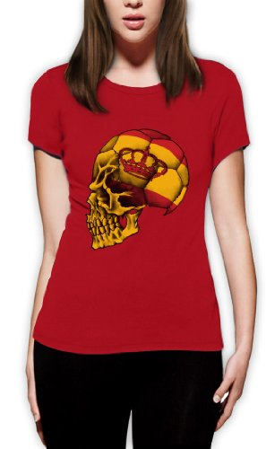 Spanien Cooler Fanartikel Fußball EM 2016 Schädel Frauen T-Shirt Rot