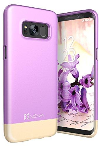 Galaxy S8 Hülle, Vena Schutzhülle Handyhülle Tasche [iSlide][Zweifarbig] Dock-kompatibel Slim-fit harte Handy-Tasche für Samsung Galaxy S8 (Lavendel / Champagnergold) (Cute Boy Koffer)