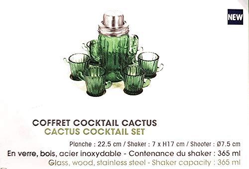 Le Studio Cocktail-Set Kaktus, aus Glas, Holz, Edelstahl, Behälter für Shaker, 365 ml Glas-shaker Set
