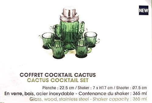 Le Studio Cocktail-Set Kaktus, aus Glas, Holz, Edelstahl, Behälter für Shaker, 365 ml -
