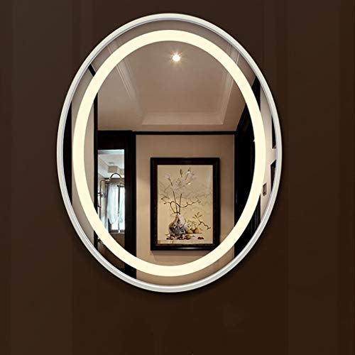 Wilk piegel Led Beleuchtet Badezimmerspiegelleuchte, Make Up Dressing Wand Schlafzimmer Eitelkeit Oval, WeißEs Licht/Warmes Licht, Holzrahmen - Make-up-spiegel Beleuchtete Wand