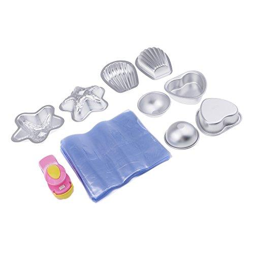 Baoblaze Kit 8pcs Moule En Aluminium Bain Savon Moule Demi-cercle Moule Diy Savon Gâteau Faisant Moule