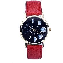Relojes Pulsera Mujer,Xinan Cuero Lunar Analógico Reloj de Cuarzo (Rojo)