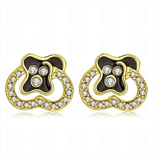 W-E Künstlerische Herz Gold Lady Ohrstecker/Edelstahl/Antiallergisch/Silber Glanz/Diamant/White Crystal Crystal Element Ohrringe, a -
