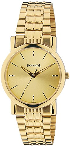 Sonata Analog Gold Dial Men's Watch -NK7987YM06W