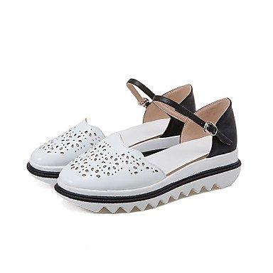 LvYuan Damen-Sandalen-Büro Kleid Lässig-PU-Flacher Absatz-Andere-Schwarz Weiß Silber Black