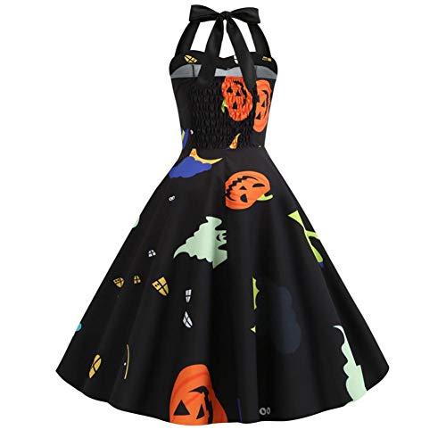 Woman Wonder Kostüm Black - ERFD&GRF Frauen Mittelalter Kleid Print Halfter Halloween Abend Party Swing Kleid Love Live Cosplay Wonder Woman Halloween, Schwarz, XL