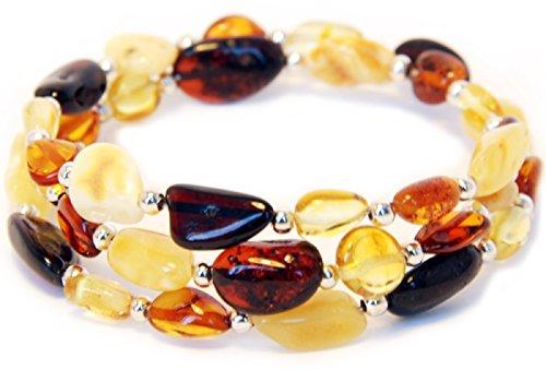 Bernsteinarmband Damen – Baltische Bernstein Perlen der höchsten Qualität mit Echtheits-Zertifikat - 100 Tage 100% Zufriedenheitsgarantie – Länge 20cm