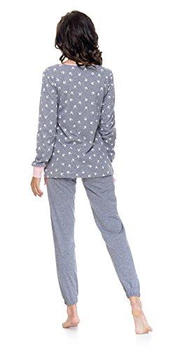 DN nightwear Pigiama/pigiama Isabella per gravidanza e allattamento/A MANICHE LUNGHE Grigio/Rosa