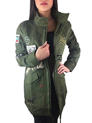 Worldclassca Damen Camouflage Parka Jacke MILITÄR GRÜN ÜBERGANGSJACKE Mantel Nieten Retro Blouson Army Parka LANG MIT REIßVERSCHLUSS...