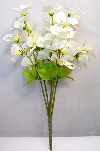 Fourwalls Majestic Artificial Dancing Fabric Orchid Flower Bouquet (56 cm, White)