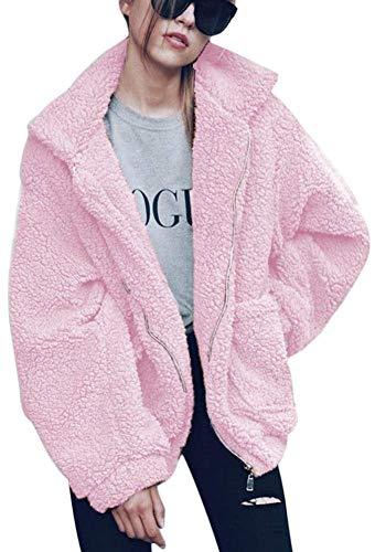 ECHOINE OopStyle Damen Mantel aus Sherpa-Fleece, offene Vorderseite, mit Taschen - Pink - XX-Large -