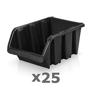 25 Stück Sichtlagerboxen Größe 5 - schwarz (29 x 20 x 15 cm)