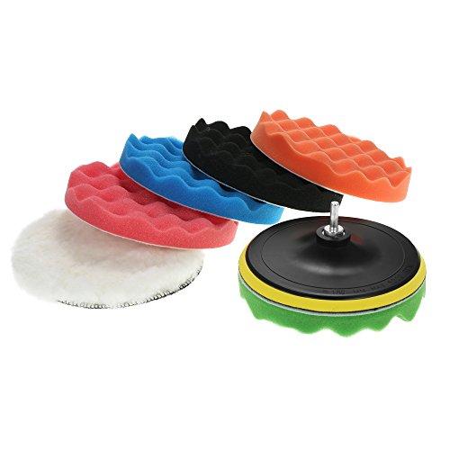 Roeam 7 PCS 180mm Auto Polierauflagen Waxing Polieren Auflage Schwamm Kit Set, für Auto Polierer Puffer Waxer Sander Polieren Waxing Sealing Glasur Inklusive - 7 Sander