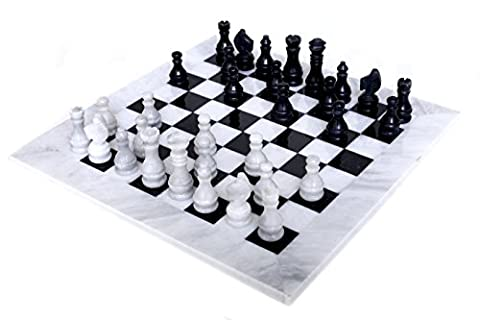 RADICALn 16 Inches Handmade Decor White and Black Marble Chess