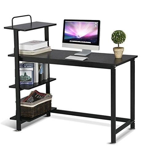 Yaheetech Computertisch Schreibtisch PC Tisch Bürotisch mit 4 Ablagen Metallstruktur schwarz ca. 120 x 50 x 112 cm -