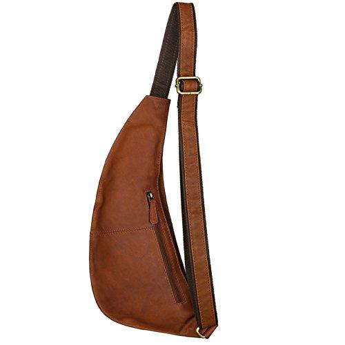 STILORD 'Adrian' Zainetto in Pelle mono-spalla Zaino Backpack 8,4 pollici Tablet PC Camera Borsa a tracolla uomo donna, Colore:cognac-marrone cognac-marrone