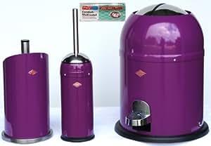 Wesco 3er Bad-Set brombeer mit 40 Müllbeutel, Single Master 9-Liter-Mülleimer + Toilettenbürste + Rollenhalter
