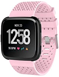 Hongtianyuan Pulseras de Repuesto para Fitbit Versa Wristband Sports Ajustable Reemplazo de Bandas para Fitbit Versa Correa Fitness Smartwatch Accesorios (Rosa)
