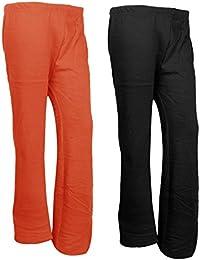 IndiWeaves Womens Warm Woolen Full Length Palazo Pants For Winters_Free Size_Orange/Black