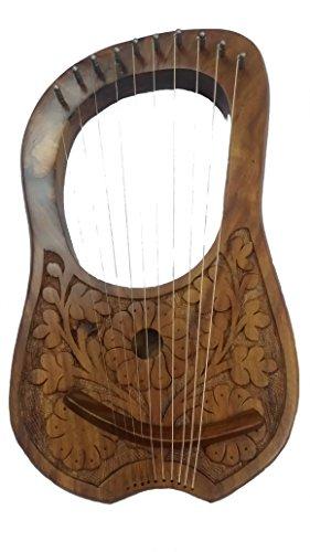 Lyra Harfe 10Metall-Saiten Palisander Blumen Design Natur finishhand Gravur/Lyra HRP Shesham natur Holz