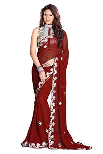 Damen Designer Sari mit Ungesteckt Oberteil/Top Mirchi Fashion Gedruckte (Kostüm Kleid Roten Woman Pretty)