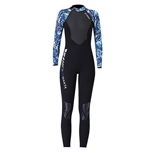 MOTOCO Damen Ganzkörperansicht Badeanzug Overall Wetsuit Surfanzug Lange Ärmel Tauchanzug - Strand Watersport UV Schutz Schwimmanzug (S,Blau)