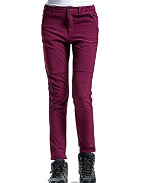 Hibote Mujer Hombre Pantalones de Trekking Pantalones de Montaña Transpirable Fleece Lined Pantalones de Escalada...