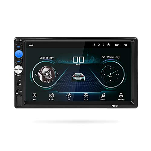 MiCarBa 7 Zoll Doppel Din Auto Stereo Android GPS Unterstützung USB FM AUX SD Rückfahrkamera, HD Touchscreen Auto Stereo MP5 Player mit Android System GPS-Navigation