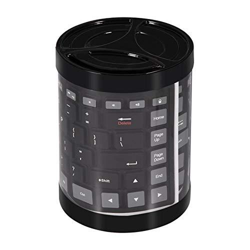 Richer-R Faltbare Silikon-Tastatur, Tragbare Wasserdichte weiche Mini Wireless Bluetooth Tastatur,Flexibel Drahtlos Faltbar Tastatur Silikagel Keyboard für Laptop/PC/Mobiltelefon/Tablet(Schwarz) -