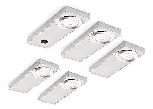 Naber, Run 1 LED Set-5 S mit Schalter, Edelstahl, 3200 K warmweiß
