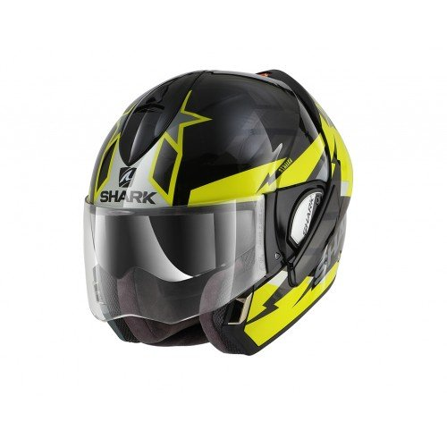 Shark casco de moto Evoline 3Strelka Kya, Negro/Amarillo, talla S