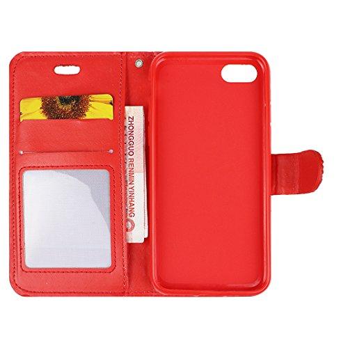 Coque iPhone 6 Plus Case, Housse iPhone 6S Plus Plus, iPhone 6 Plus Etui, Moon mood® Bling Rhinestone Étui en PU Cuir pour iPhone 6 Plus/6S Plus Plus 5.5 pouce Soft TPU Telephone Portable Housse Cas F Rouge