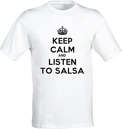 Keep Calm And Listen To Salsa Uomo T-shirt Bianco Cotone Girocollo Maniche Corte White Men's T-shirt