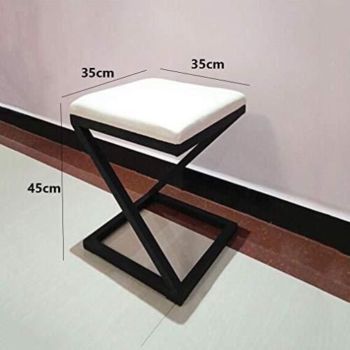 ECSD Nordisches Einfaches Schmiedeeisen Dressing Hocker Quadrat Schuhe Bench Sofa Hocker Bekleidungsgeschäft Anproberaum Hocker (Farbe : Weiß, größe : B) -