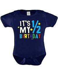 HAASE It's My Half Birthday - Anniversary Bodysuit (6M, Navy Blue)