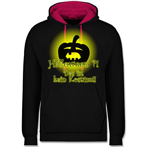 Shirtracer Halloween - Kein Halloweenkostüm - M - Schwarz/Fuchsia - JH003 - Kontrast Hoodie