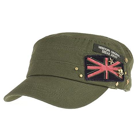 WITHMOONS Militaire Casquette de Baseball Cadet Cap Skull Star Studs Union Jack Cotton Hat CR4374 (Green)