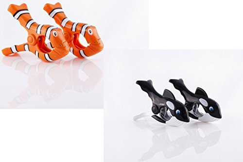 Boca Clips Lot de 2 paires de pinces pour serviette de plage Motif poisson-clown et baleine