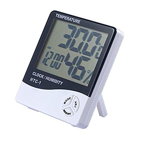 Creatif Ventures Plastic Digital Hygrometer Thermometer Humidity Meter with Clock LCD Display (Multicolour)